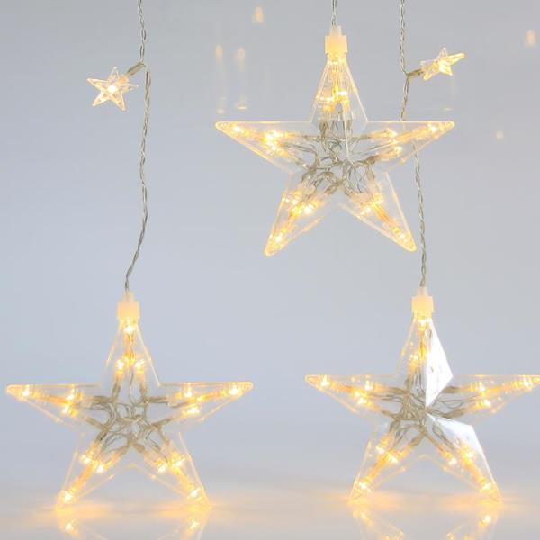 Κουρτίνα Με 7 Μεγάλα Και 22 Μικρά LED Αστέρια Θερμά Λευκά