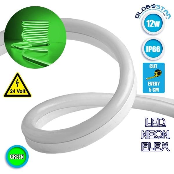 LED Neon Flex 12W 24V IP65 5cm Πράσινο